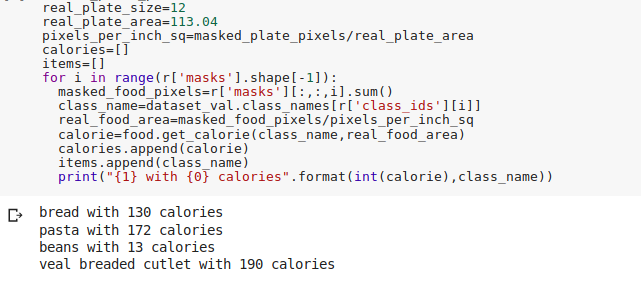 Calories estimation from detected food-masks