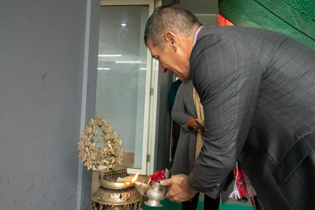 Randy Berry inaugurating the  extended wing of Leapfrog Kathmandu office.